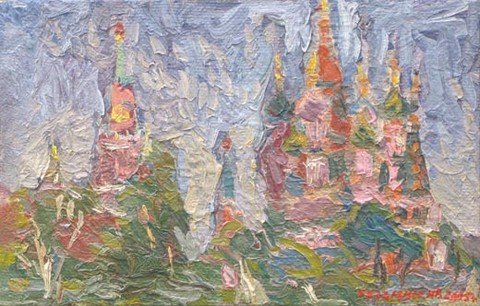 The Spasskaya tower of the Kremlin. The cathedral of Basil the Blessed. 19.5 x 30 cm (7.7 x 11.8 inches). 2005