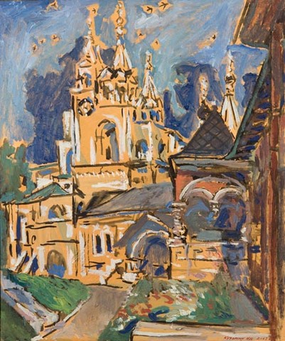 The porch of the czarina and the steeple of the Savvino Storozhevsky monastery in Zvenigorod. Oil on canvas, 87 x 73 cm (34.3 x 28.7 inches). 2003