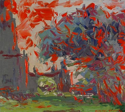 Sunset on the University boulevard. Oil on canvas, H 38 x W 42 cm (H 15 x W 16.5 inches). 2003