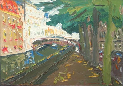Bruges, trees above the canal. Oil on canvas, 50 x 70 cm (19.7 x 27.6 inches). 1998. Private collection