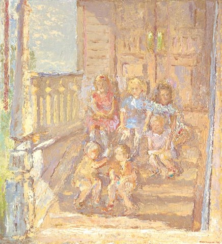 Once upon a time, the children sitting on the golden porch.... Oil on canvas, 110 x 100 cm (43.3 x 39.4 inches). 1991. Private collection