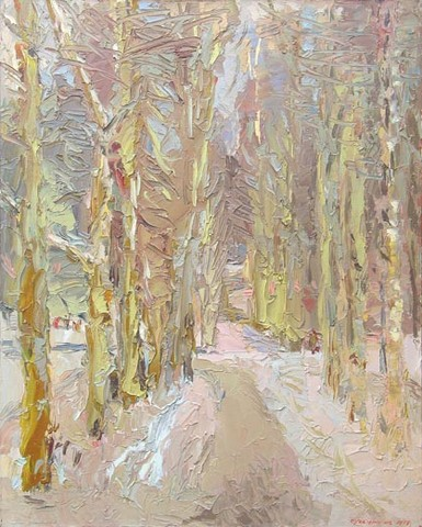 The Kreshenskaya alley on the Vorobiovy hills in Moscow. Oil on canvas, 90 x 72 cm (35.4 x 28.3 inches). 1999. Private collection
