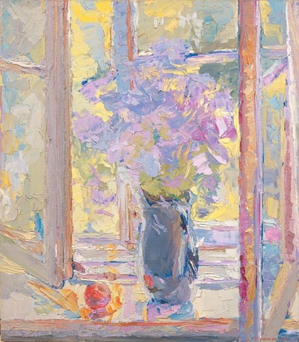 Flowers in front of an open window. Oil on canvas, 90 x 80 cm (35.4 x 31.5 inches). 1997