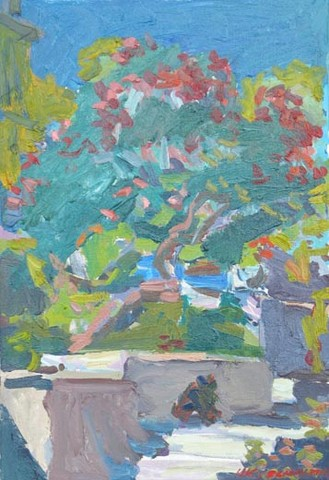 Garden (oleander) in bloom. Strećica. Korčula. Oil on canvas, H 55 x W 38 cm (H 21.7 x W 15 inches). 2008. Private collection