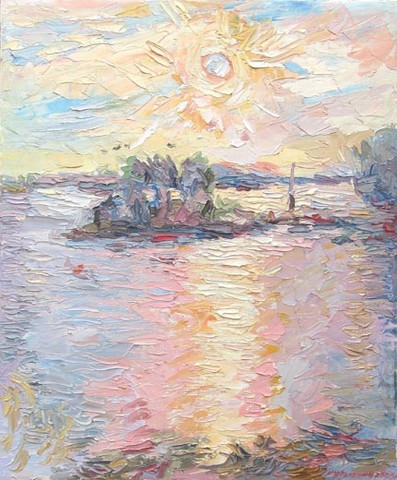 Sunny morning. Yollas (Finland). Oil on canvas, 65 x 54 cm (25.6 x 21.3 inches). 2006
