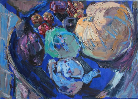 Still life with a pumpkin. Oil on canvas, 50 x 70 cm (19.7 x 27.6 inches). 2008. Private collection