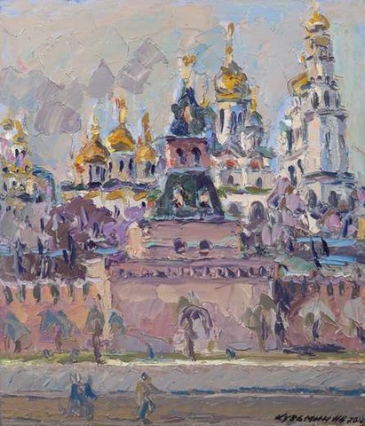 The Kremlin in front of the Moscow river close to the Taynitskaya tower. April. Oil on canvas, 61 x 52 cm (24 x 20.5 inches). 2012