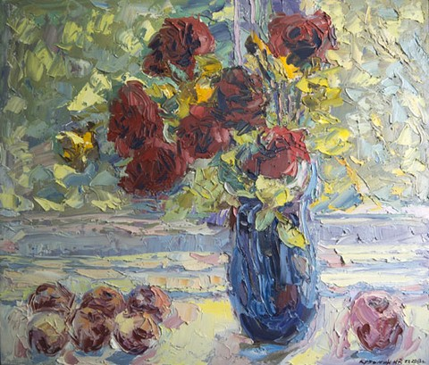 Still life with roses at the window. Oil on canvas, 67 x 78 cm (26.4 x 30.7 inches). 2013