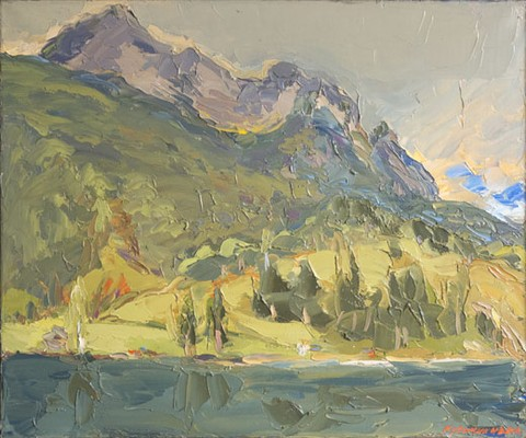 Mountains by Lake Ferchensee near Mittenwald. Oil on canvas, H 50 x W 60 cm (H 19.7 x W 23.6 inches). 2001