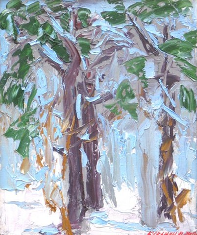 January. Pine tree wood. Oil on canvas, 36 x 30 cm (14.2 x 11.8 inches). 2008