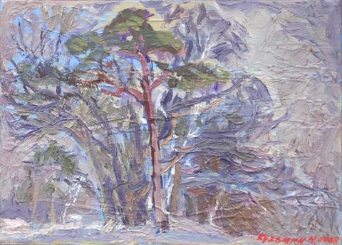 January, wooded landscape. Oil on canvas, 25 x 35 cm (9.8 x 13.8 inches). 2008