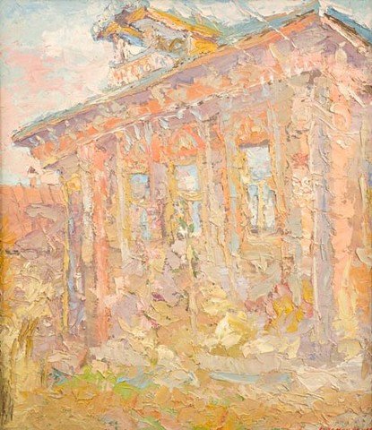 The house illuminated by the sun. 100 x 88 cm (39.4 x 34.6 inches). 1991