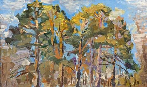 Pine trees on the outskirts of Cherepkovo. March. Oil on canvas, 71 x 120 cm (28 x 47.2 inches). 1995