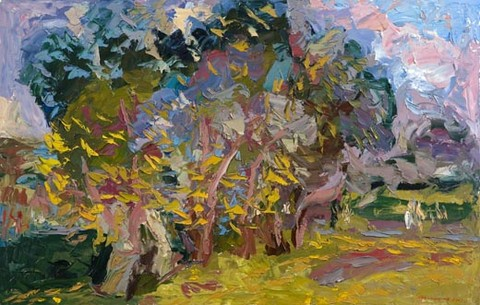 Lilac on the University boulevard. May. Oil on canvas, 69 x 110 cm (27.2 x 43.3 inches). 2003