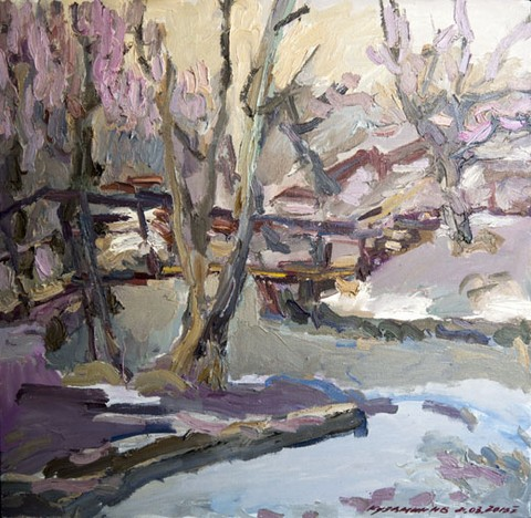 Landscape with the Setun river. Oil on canvas, 51 x 52 cm (20.1 x 20.5 inches). 2015